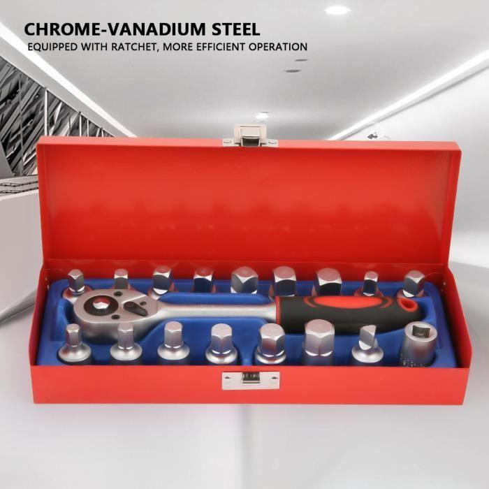Jeu de Clés à Douille, Coffret Clé à Cliquet et Connecteur 3-8 pouces(18pcs),avec une mallette rouge, Dimensions: 26 x 11 x 6 cm -XN