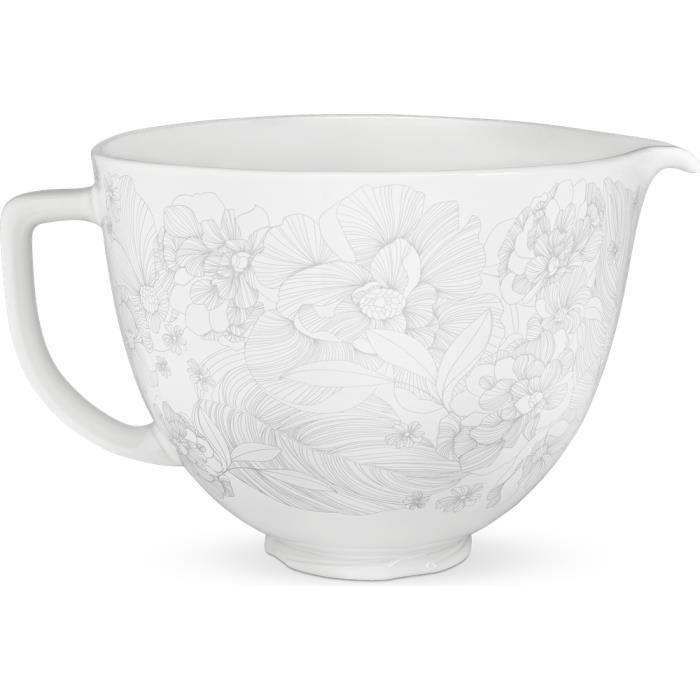 kitchenaid - bol céramique murmure floral 4.7l pour robot - 5ksm2cb5pwf