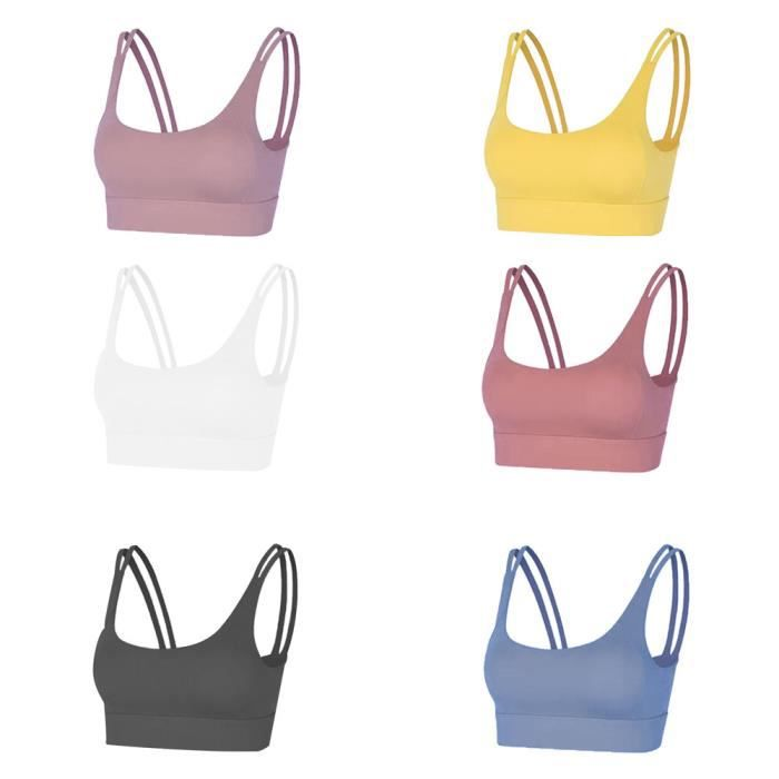 3 pièces Femme Sous vetements Bustier corset pour Jogging Yoga Gym Fitness(Couleurs différentes et Même taille)-M-Blanc-Jaune-Bleu