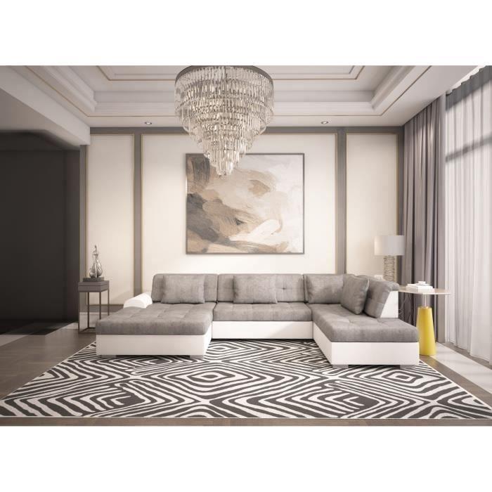 Canapé panoramique convertible LIBERTA angle droit gris blanc