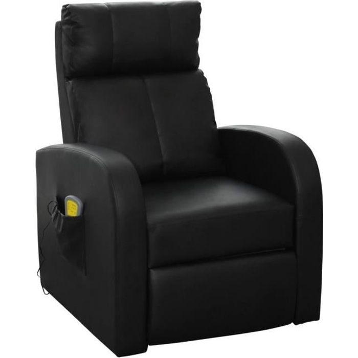 Fauteuil de massage électrique avec télécommande Noir Fauteuil canapé sofa relaxation massant
