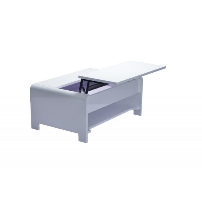 Table basse TRIEST design avec compartiment intérieur et porte invisible sur vérins, coloris blanc.: 60 Blanc