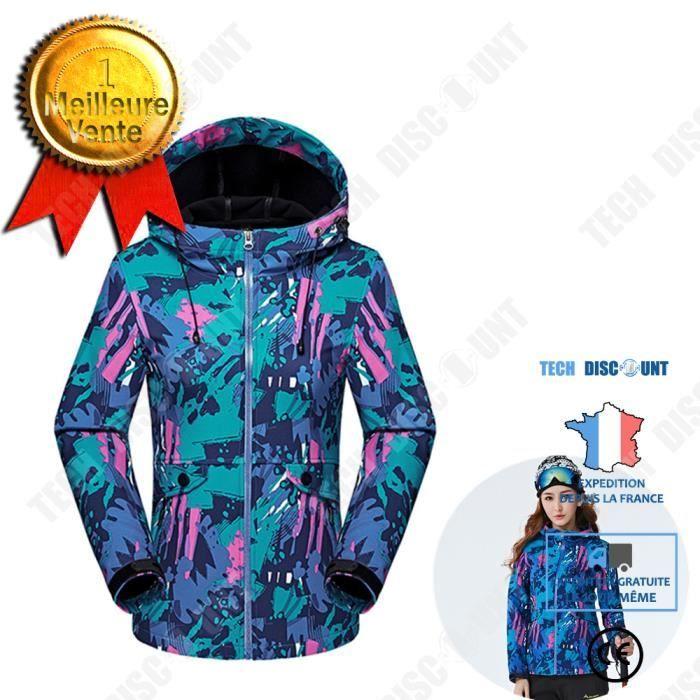 TD®Blouson de ski femme Camouflage Mode Veste Col Debout Casual Vêtement Masculine grande taille - vêtement ski