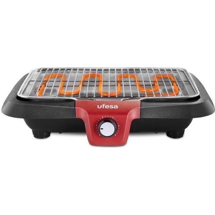 UFESA BB7640 Barbecue électrique avec système de génération de faible fumée, résistance thermique, arrêt automatique, surface 38x24