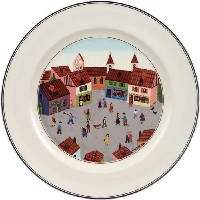 Assiette plate en porcelaine ronde D.27cm DESIGN NAIF - Village