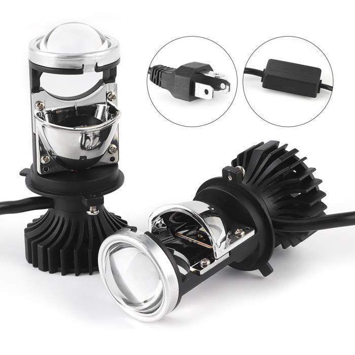 YUM 2pcs H4 LED Ampoule de phare 20000LM 90W IP65 Kit de conversion de feux de croisement avec mini lentille de projecteur (12V