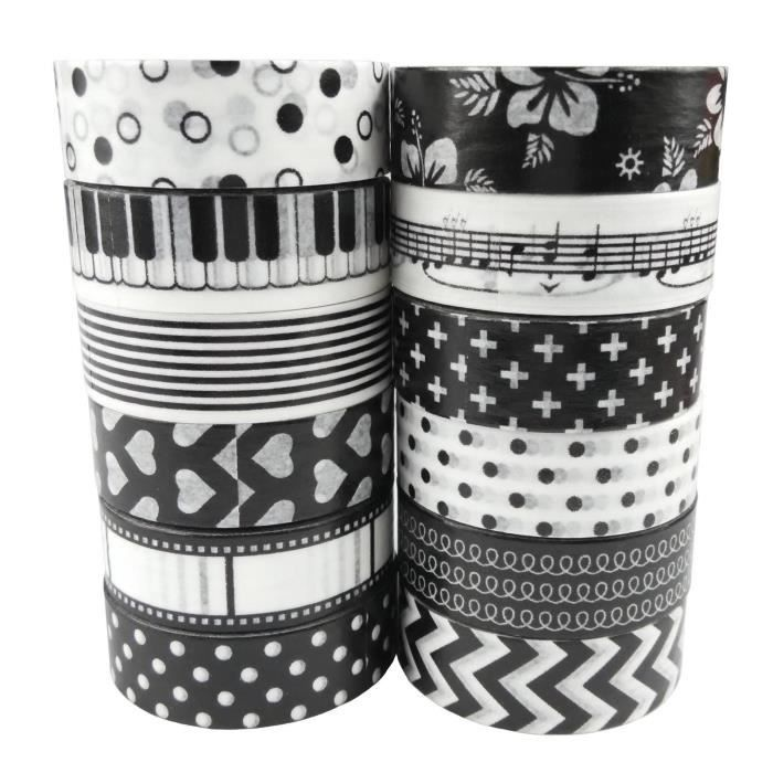 12x washi masking tape papier ruban adhesif decoratif motifs noir et blanc scrapbooking achat. Black Bedroom Furniture Sets. Home Design Ideas