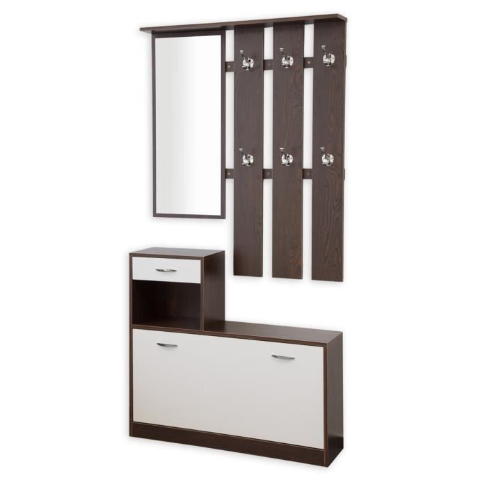 garderobe vestiaire 3 pi ces couleur blanc noyer achat vente meuble d 39 entr e garderobe. Black Bedroom Furniture Sets. Home Design Ideas