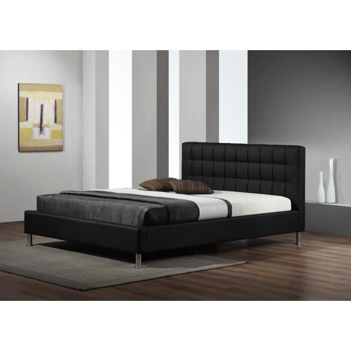lit design maxi simili cuir noir sommier 140x190 achat. Black Bedroom Furniture Sets. Home Design Ideas
