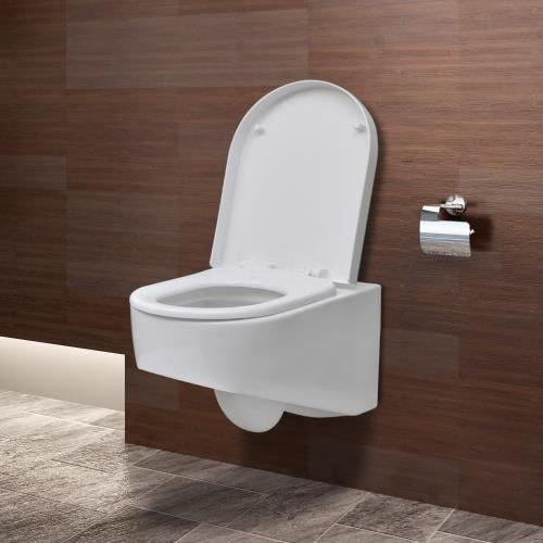 cuvette avec abattant design blanc achat vente wc toilette bidet cuvette avec abattant. Black Bedroom Furniture Sets. Home Design Ideas