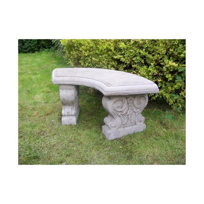 Banc Incurve En Pierre Decoration De Jardin Achat Vente Banc D Exterieur Banc Incurve En Pierre Cdiscount