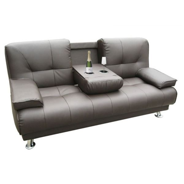 canap lit bar en cuir marron cork canap conve achat. Black Bedroom Furniture Sets. Home Design Ideas