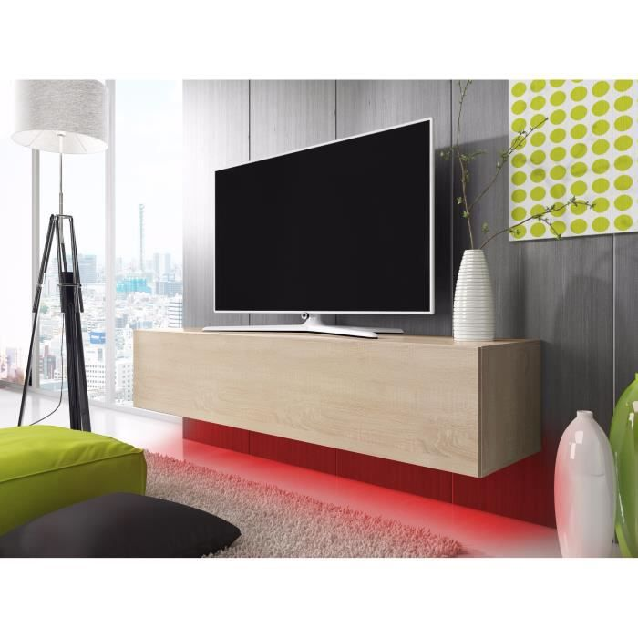 meuble tv lana avec led rouge ch ne 100cm achat vente meuble tv meuble tv lana avec led. Black Bedroom Furniture Sets. Home Design Ideas