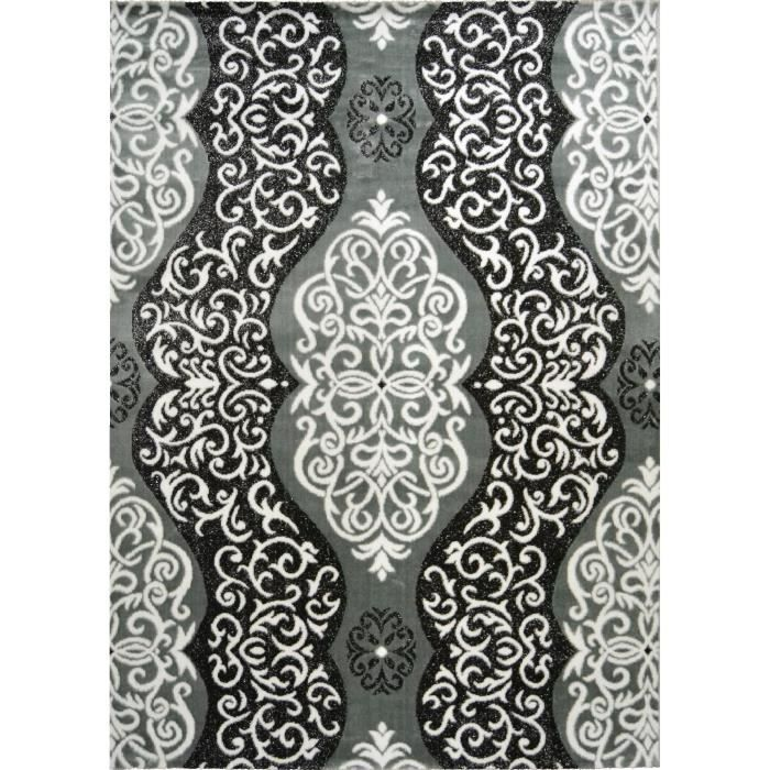 TAPIS BAHIA Tapis de salon 160x230 cm gris, noir et or
