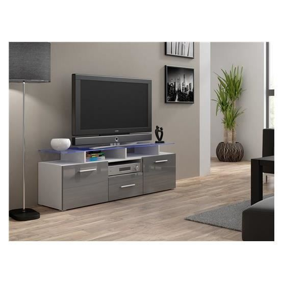 meuble tv design evori mini blanc et gris achat vente meuble tv meuble tv evori mini bl gr. Black Bedroom Furniture Sets. Home Design Ideas