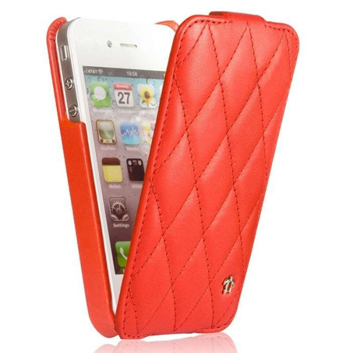 Etui housse iphone 4 s en cuir rouge achat vente for Etui housse iphone 4