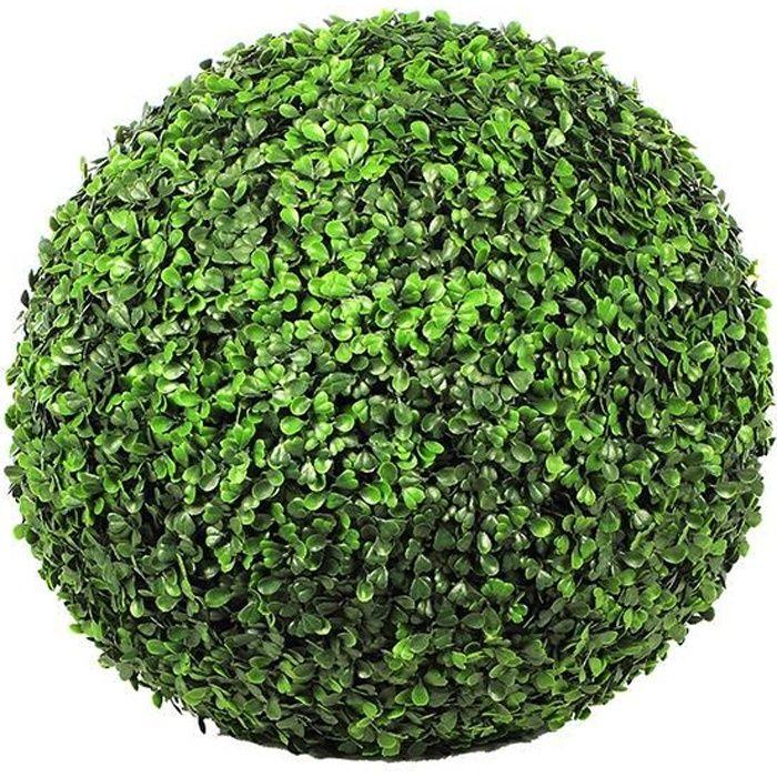 FLEUR ARTIFICIELLE Boule de buis artificielle - Vert foncé - 45 cm
