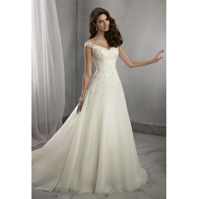 Romantique paillettes à lacets robes de marié