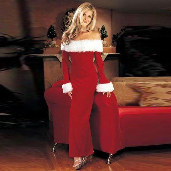 ROBE Femmes Robe de Noël chaud Encolure partie longue r