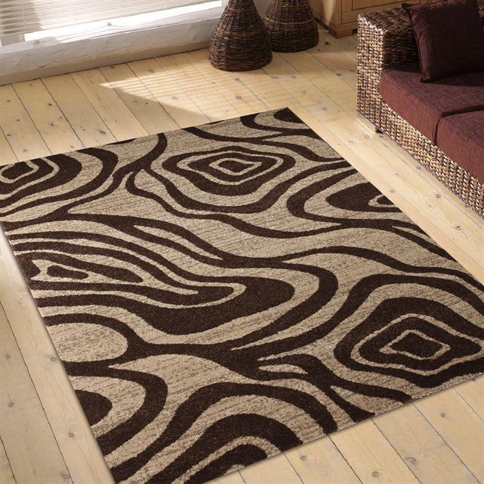 tapis salon marron orange - Tapis Marron