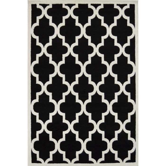 quadrilobe tapis de salon noir et gris 160x230 cm achat vente tapis 100 polypropyl ne. Black Bedroom Furniture Sets. Home Design Ideas