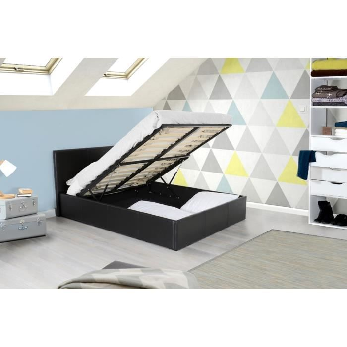 lit coffre adulte 140x190 sommier pvc noir royal. Black Bedroom Furniture Sets. Home Design Ideas