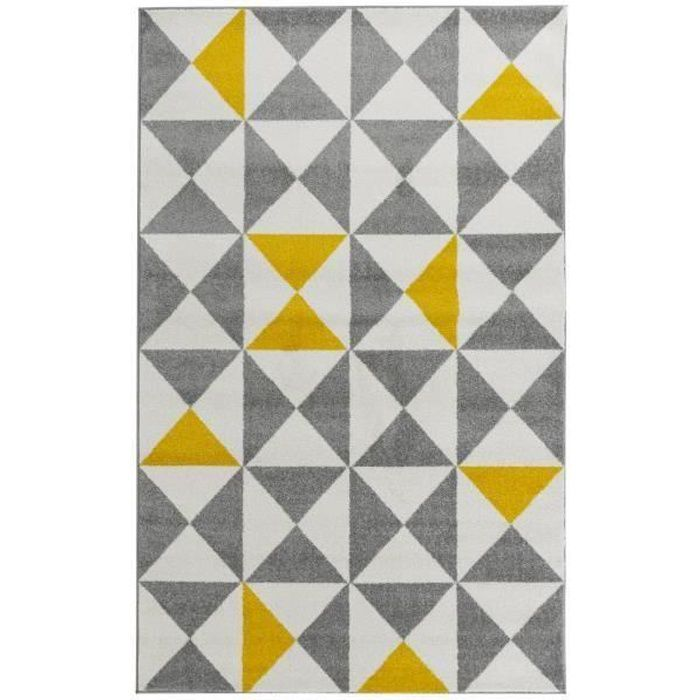 forsa tapis de salon jaune et anthracite 160x230 cm achat vente tapis 100 polypropyl ne. Black Bedroom Furniture Sets. Home Design Ideas