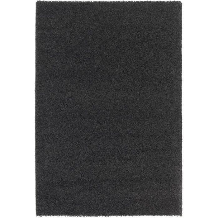 trendy tapis de salon shaggy noir 160x230 cm achat. Black Bedroom Furniture Sets. Home Design Ideas