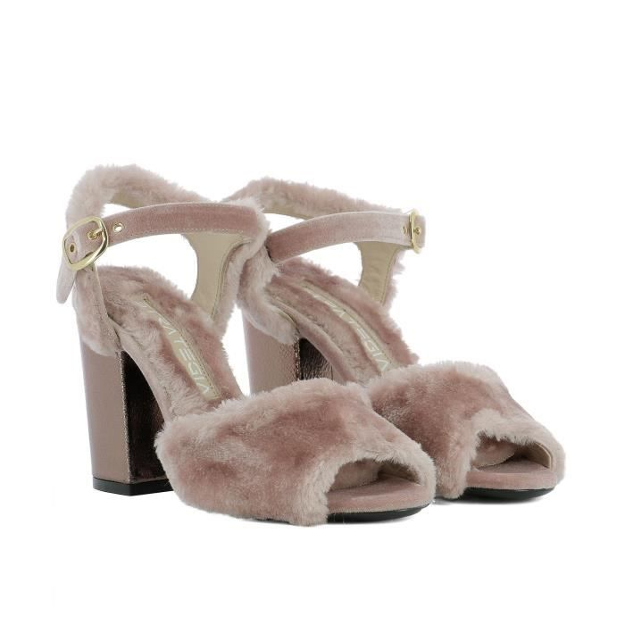 STRATEGIA FEMME A3318PINK ROSE VELOURS SANDALES