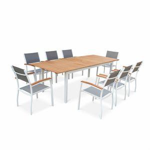 Ensemble table et chaise de jardin Salon de jardin en bois et aluminium Sevilla, gran