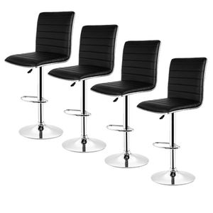 d3baec6b0345b7 hereubuy° TABOURETS DE BAR LOT DE 4 - SIMILI NOIR - TABOURET DE BAR DESIGN