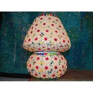 Tesselle Lampe mosaique ronde multicolor flocon