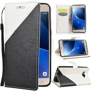 HOUSSE - ÉTUI Coque Samsung Galaxy J5 2016 PU Cuir Housse Noir +