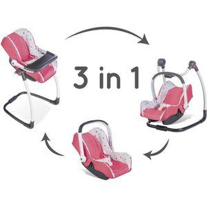 MAISON POUPÉE SMOBY Bébé Confort - Siège + Chaise Haute 3 en 1