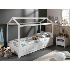 STRUCTURE DE LIT Lit cabane 90x200 blanc   tiroir - Terre de Nuit