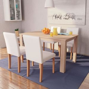 TABLE À MANGER COMPLÈTE Table et chaises 5 pcs Cuir synthétique Chêne Coul