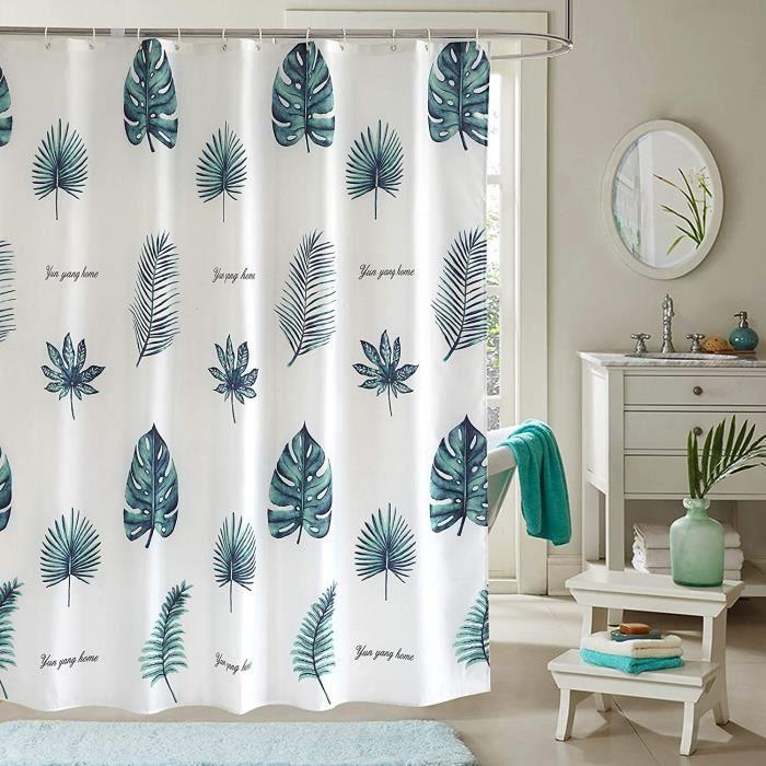 SC Rideau de Douche en Tissu Anti-moisissure Imperméable avec des Crochets, Antibactérien, Lavable en Machine Vert 180 x180cm