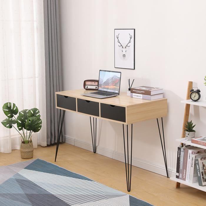 LARAS Table Console Table d'Appoint - Bureau 3 tiroirs - Décor chêne et noir - L 110 x P 51 x H 75 cm