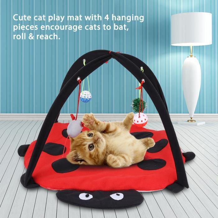 Tapis multifonctionnel de jeu pour chat avec des boules accrochantes de jouet Lit de tente pour activité de chat---RAC