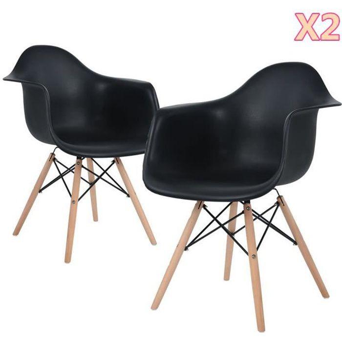 Lot de 2 Chaise Fauteuil Scandinave Bois Noire Chaise de Salle À Manger Vintage - 51 x 62 x82 cm