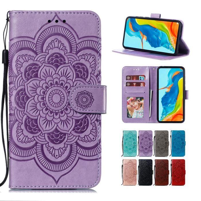 Coque Huawei P Smart (2020), Mandala Fleur Folio Cuir Porte-cartes avec Support et Dragonne Antichoc Protection (Violet)