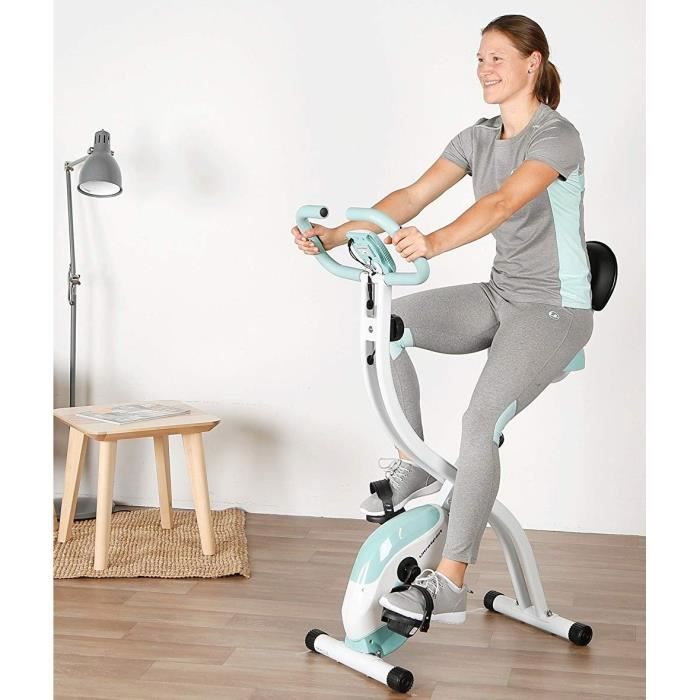 Velo d'appartement sport pliable avec dossier - Compteur cardiaque calorie - distance - 8 niveaux cardio fitness minceur Slim cycle