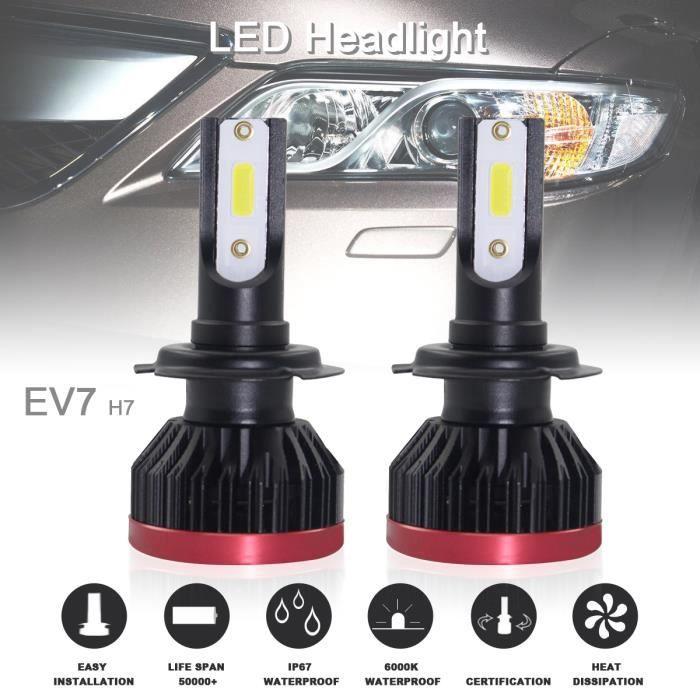 2pcs Super Mini H7 120W 20000LM 6500K COB LED Ampoules phares kit de conversion ampoules phares