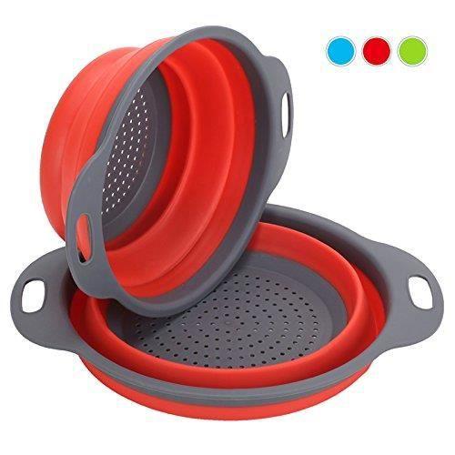 2 pcs pièces de filtre en silicone pour légumes ou fruits Pliable Passoire Pliante Comprend (rouge)