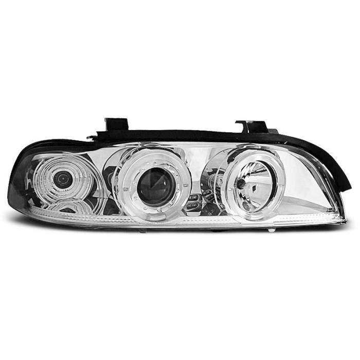 Paire de feux phares BMW serie 5 E39 95-00 angel eyes chrome (M28)