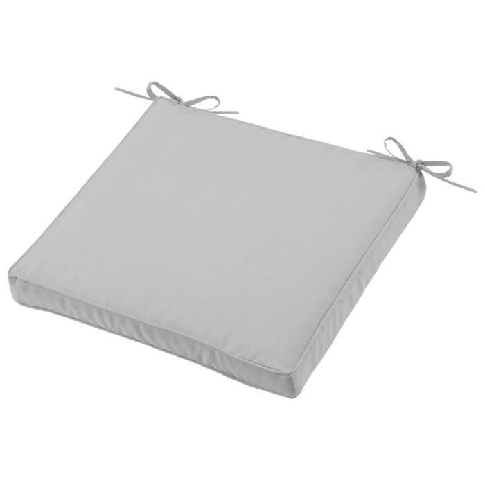 Coussin de chaise Sunny gris 40 x 40 x 5 cm Déhoussable Extérieur Imperméable