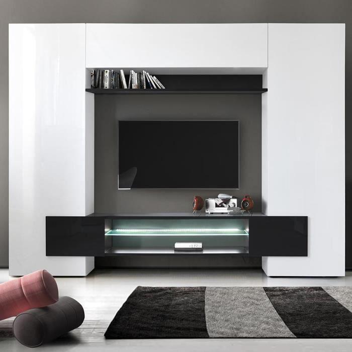 Meuble tv mural laqué blanc et noir EROS 3 Avec L 258 x P 36 x H 191 cm Blanc