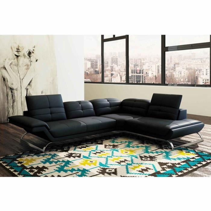 Canapé d'angle design en cuir noir AURORE - Angle Droit