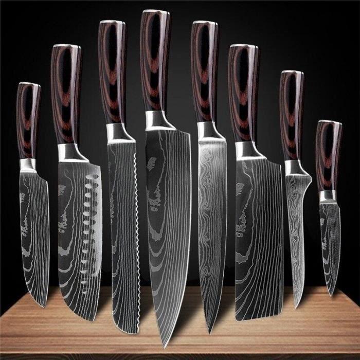Couteaux de cuisine en acier inoxydable Laser damas motif couteau de Chef tranchant tranchage couteaux utilitaires outil