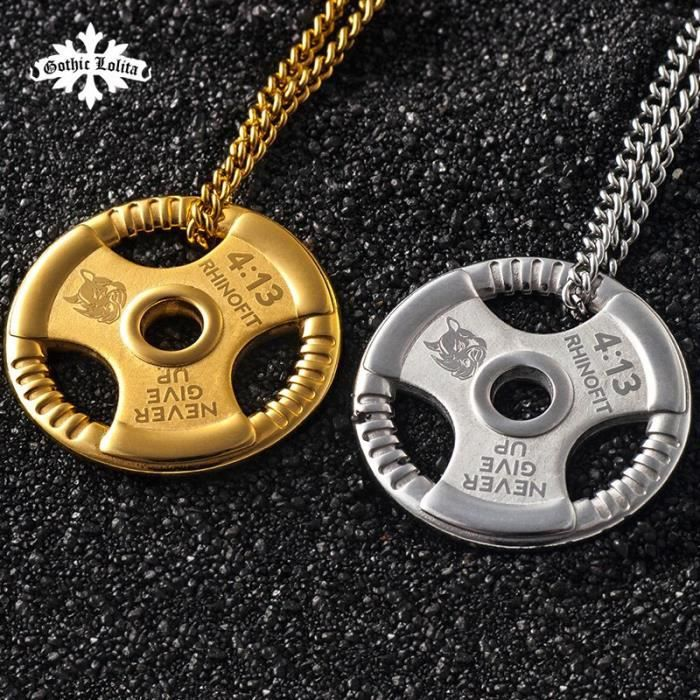 Pendentif d'haltère, plaque de poids, musculation, Fitness, Crossfit, collier d'exercice, mygrillz pendant with Ochain -QUEN16682